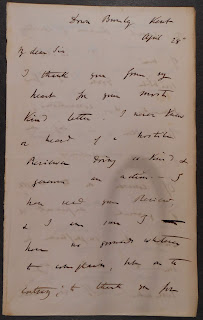 "Letter from Darwin addressed ""Dear Sir"""