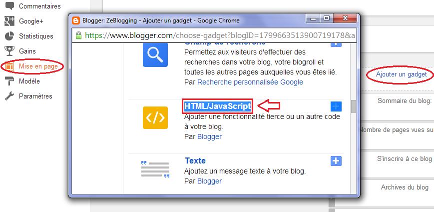 Zeblogging Comment Inserer Des Codes Html Javascript Sur Blogger