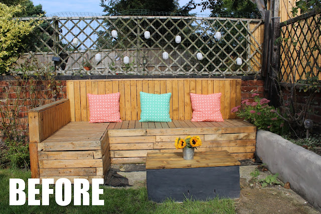 garden pallet seating before