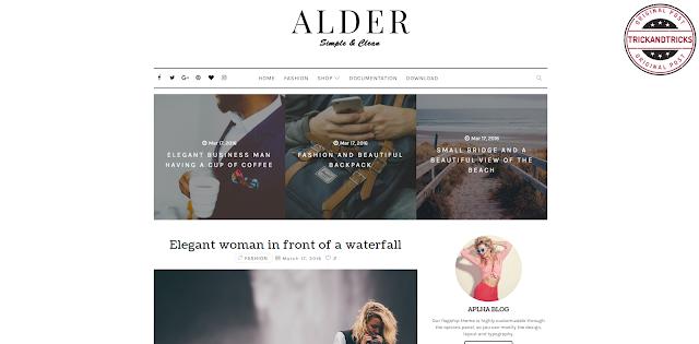 Alder Elegant Premium Blogger Template