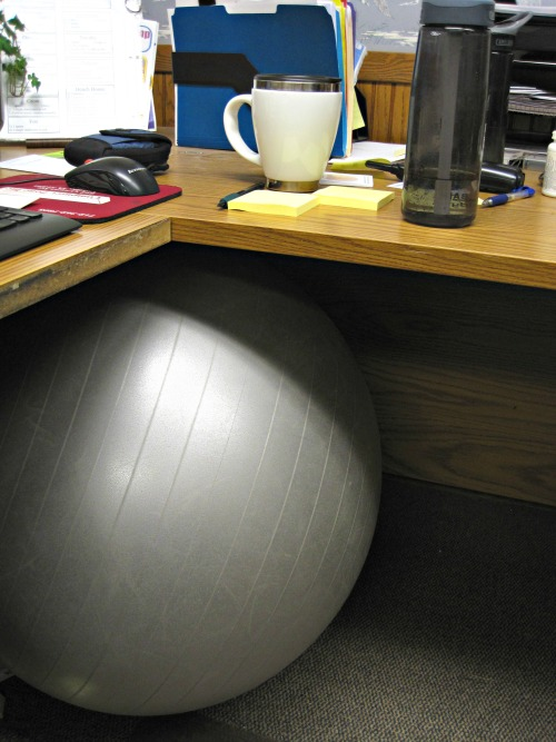 stability ball in office exercise ball at desk