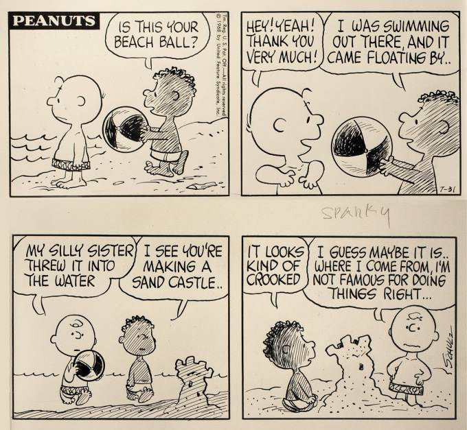 Franklin's First Appearance in Peanuts
