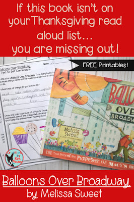 This is one of the best Thanksgiving read alouds! Balloons Over Broadway is the true story of Tony Sarg- the puppeteer of the Macy's Thanksgiving Day Parade. Check out this blog post and grab the FREE story extension printables and read this to your class this November!