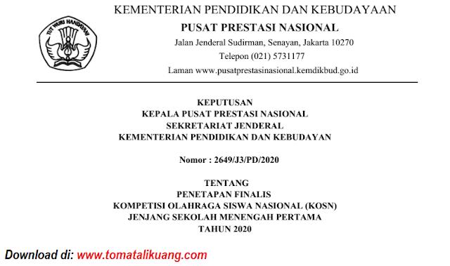 sk peserta kosn o2sn smp tingkat nasional tahun 2020 pdf tomatalikuang.com