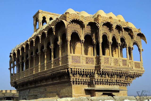 Salim Singh ki Haveli, delicately carved out of yellow sandstone