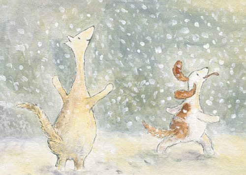 Postcard illustration of Hulmu Hukka and Haukku Spaniel being happy when it's snowing