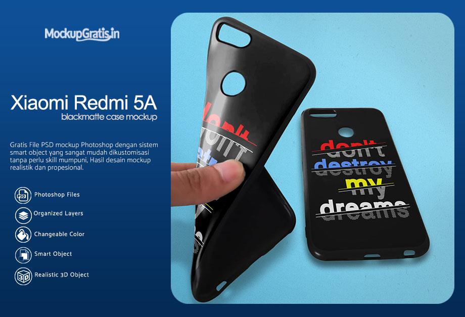 PSD Mockup Blackmatte Case Xiaomi Redmi Note 5A