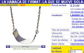Copie écran de la balançoire de Firmat en vente sur Internet
