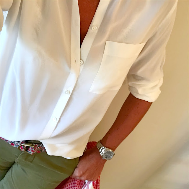 my midlife fashion, the white company silk blouse, witney belts ripley fabric belt, j crew sammie cropped chinos, j crew woven wedge sandals