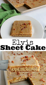 Banana sheet cake topped with a glossy peanut butter icing is delicious. To make it an ode to Elvis himself we added some chopped bacon and a drizzle of honey. This cake is a delicious way to enjoy the King's favorite sandwich combo.