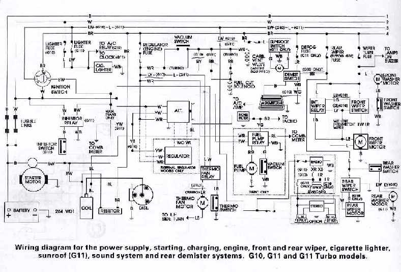 Daihatsu G10, G11, and G11 Turbo Models Wiring Diagrams