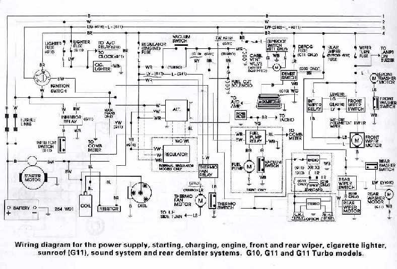 Daihatsu G10, G11, and G11 Turbo Models Wiring Diagrams