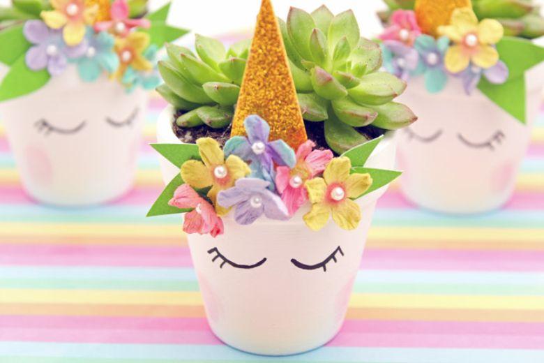 Unicorn flower pot craft