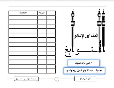 تحميل مذكرة اللغة العربية للصف الاول الاعدادى ترم أول المنهج الجديد 2021 للاستاذ علي محمد عليان