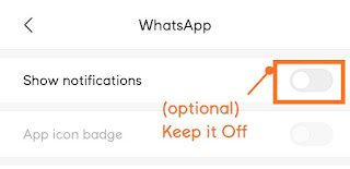Step 5- This step is totally Optional. You can turn off the notification for WhatsApp for better concentration on your studies and work.