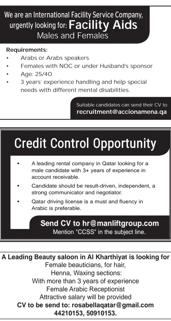 REQUIREMENTS IN QATAR - APPLY NOW - Career Opportunities4you