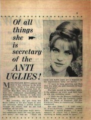 Pauline Boty in the papers for being the beautiful face of the Anti Uglies