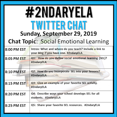Join secondary English Language Arts teachers Sunday evenings at 8 pm EST on Twitter. This week's chat will be about social emotional learning.