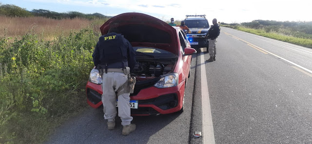 Operação Integrada da PRF e Polícia Militar em Pombal, recupera um veículo roubado no Pernambuco