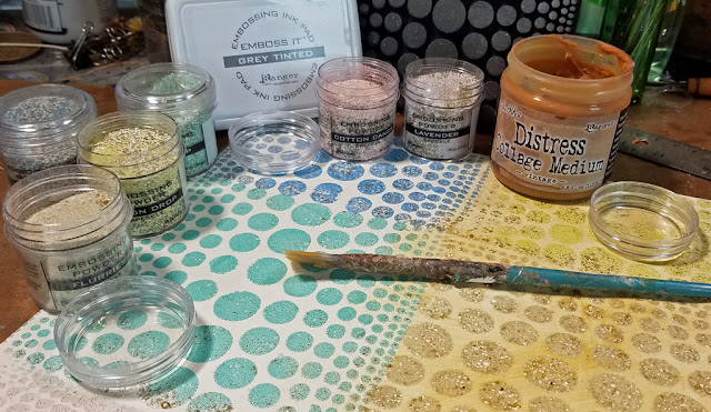 Ranger Speckle Embossing Powder using ArtFoamies Stamps and Emboss it ink pad
