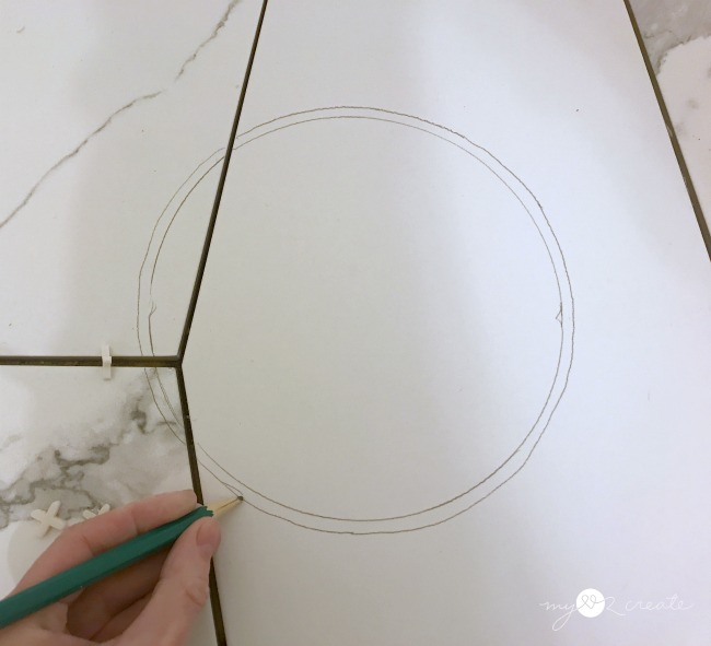 make toilet circle in tile 1/4'' bigger for cutting