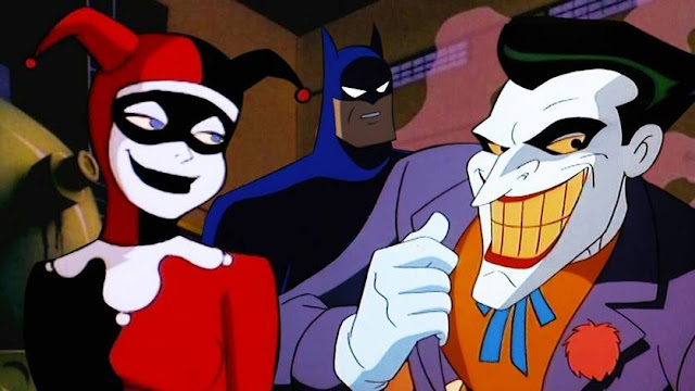 Cena de Batman: A Série Animada com Arlequina, Coringa e Batman