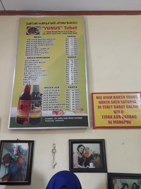 Daftar Harga Mie Ayam Yunus Tebet