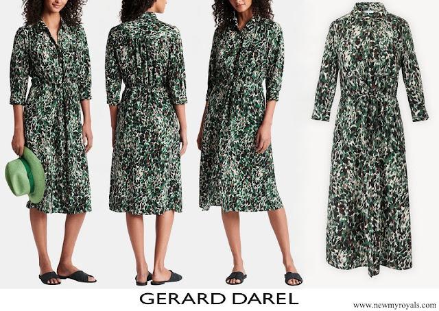 Princess Marie wore Gerard Darel Simona Printed Midi Shirtdress