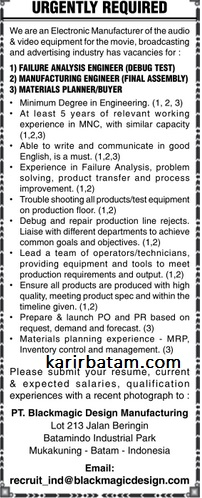 Lowongan Kerja Pt Blackmagic Design Manufacturing Lowongan Kerja Batam 2021
