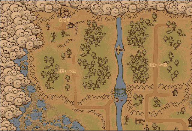 川沿いの森の地図