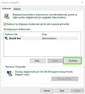 kullanıcı hesabı özellikleri