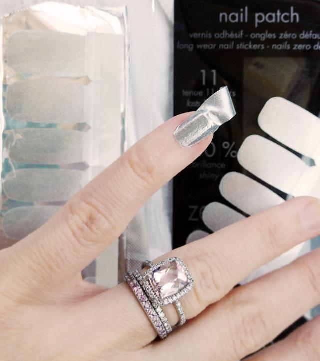 metallic nail stickers, nail patches, manicure, wedding ring, morganite, diamonds