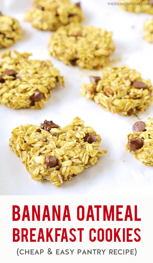 A cheap & easy recipe for Banana Oatmeal Breakfast Cookies made with five simple pantry ingredients + one or two optional mix-ins. They're chewy and filling with a hint of sweetness from the banana and dark chocolate chips. Make a batch in less than 30 minutes (kids will love to help with this one) and store the leftovers in your fridge or freezer for a quick breakfast, snack, or dessert.