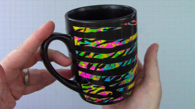 adhesive vinyl, coffee mug, scor tape, digital patterns, patterned adhesive vinyl