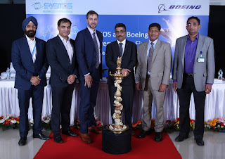 Photo 2 Caption: Paramjeet Singh, Technical Director, SASMOS; Anurag Verma, Boeing Defence, Space & Security Supplier Management; Michael Koch, Vice President, Boeing Defense, Space & Security; HG Chandrasekhar, Managing Director of SASMOS; Pratyush Kumar, President, Boeing India; and Santhana Kumar, SASMOS Sales & Marketing at the delivery ceremony of the first F/A-18 fighter aircraft electrical panel assembly by SASMOS to Boeing