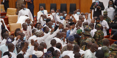 Chaos at Ghana's parliament as lawmakers exchange blows