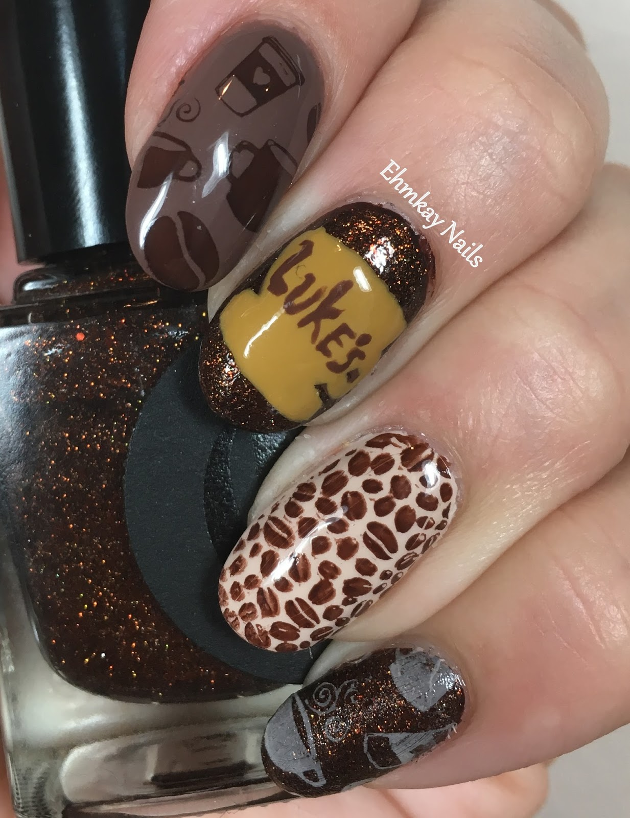 ehmkay nails: Gilmore Girls Nail Art for the Ultimate Coffee Lover