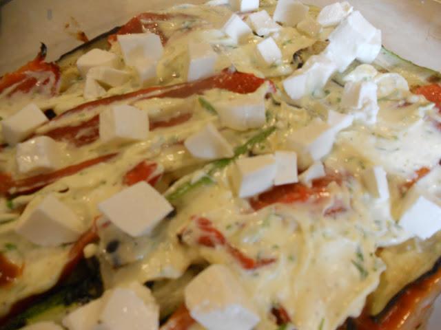 The ricotta and mozzarella layer of the lasagna