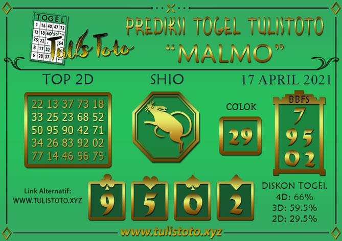 Prediksi Togel MALMO TULISTOTO 17 APRIL 2021