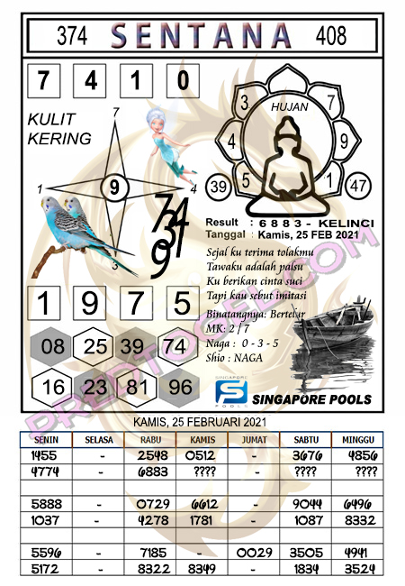 Syair Sgp Sentana Kamis 25-Feb-2021