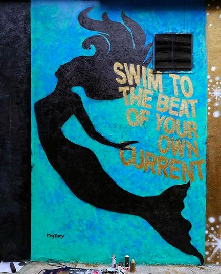 MegZany, street artist, graphic art, Los Angeles street artist, graffiti, mermaid, Brooklyn