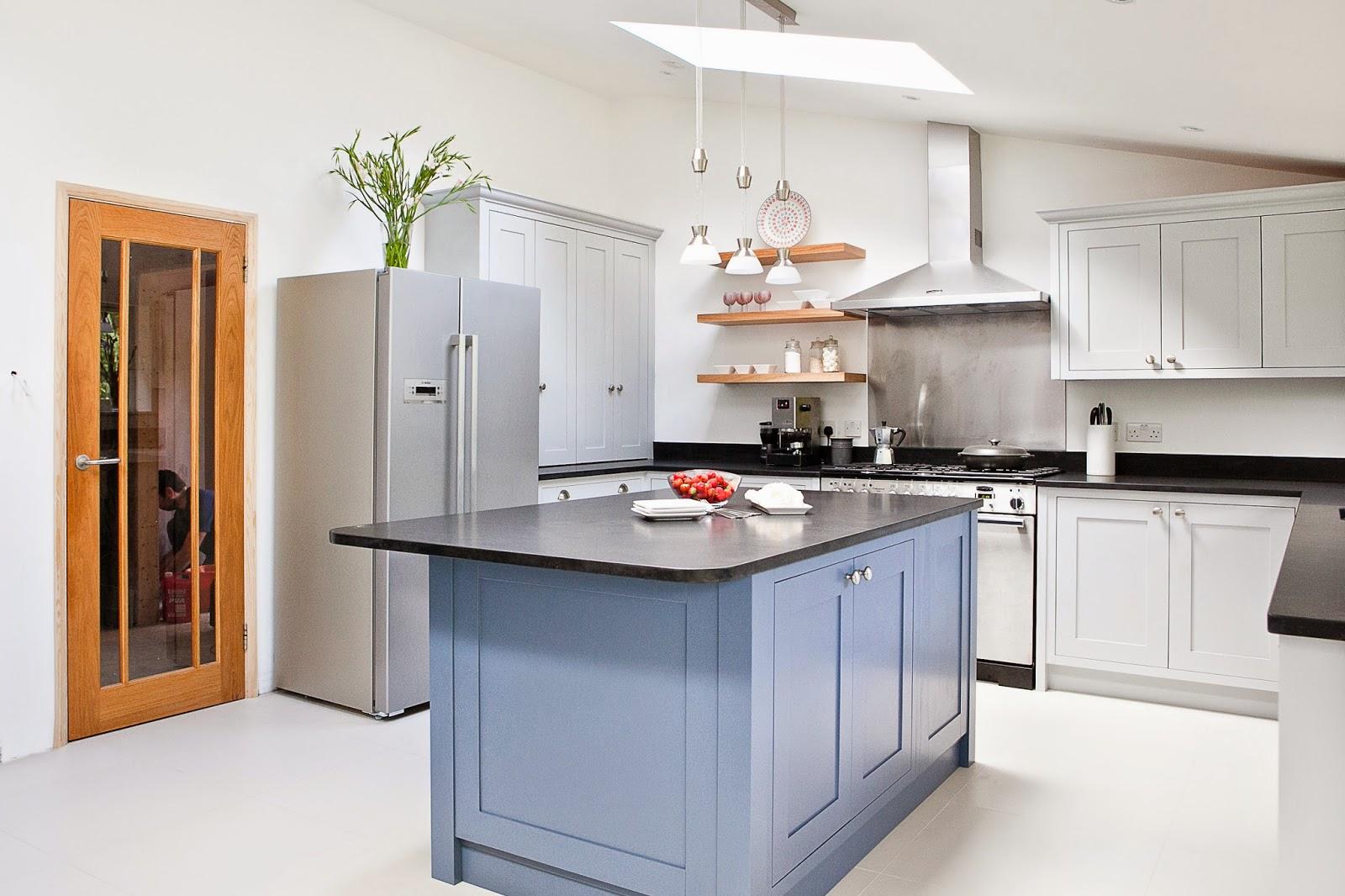Maple  Gray Blue  Grey Kitchen