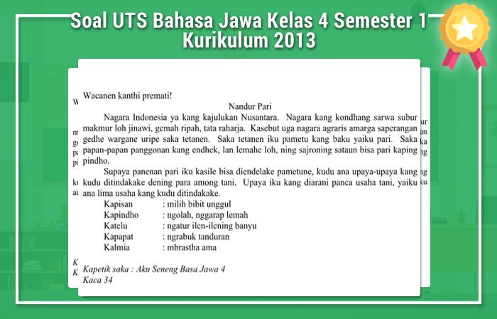 Soal UTS Bahasa Jawa Kelas 4 Semester 1 Kurikulum 2013