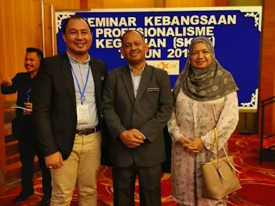 Cikgu Hailmi bergambar dengan Dr Ahmad Rafee (Timbalan KPPM) dan Datuk Maimunah (Pengarah BPG)