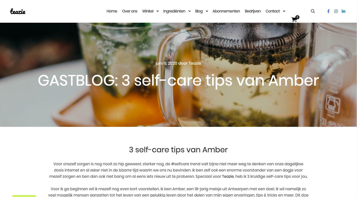 Screenshot van het artikel dat ik schreef voor Teazie.nl