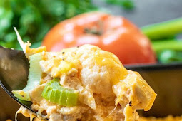 Crazy Delicious Buffalo Chicken Cauliflower Casserole #keto #lowcarb