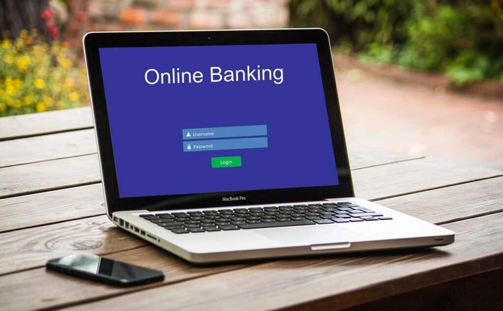 Banco online em um notebook
