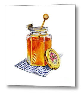 Bestselling Watercolor painting of honey jar and bee by the artist Irina Sztukowski