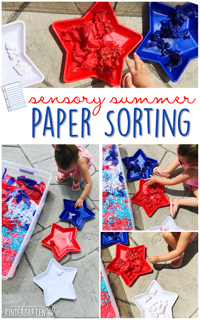 Practice fine motor skills with this paper filled sensory bin! This is a perfect activity for summer tot school, preschool, or kindergarten!