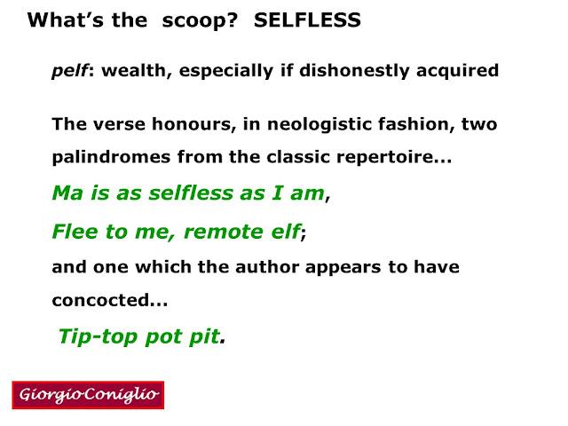 wordplay; palindromes; classic; selfless; Giorgio Coniglio